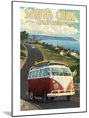 Santa Cruz, California - VW Van-Lantern Press-Mounted Art Print