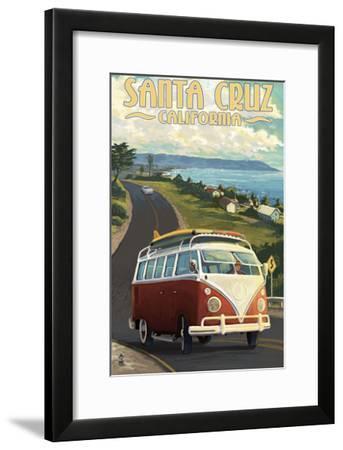 Santa Cruz, California - VW Van-Lantern Press-Framed Art Print