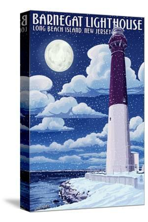 Barnegat Lighthouse - Snow Scene - New Jersey Shore-Lantern Press-Stretched Canvas Print