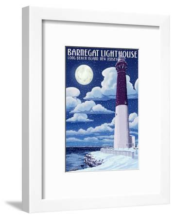 Barnegat Lighthouse - Snow Scene - New Jersey Shore-Lantern Press-Framed Art Print