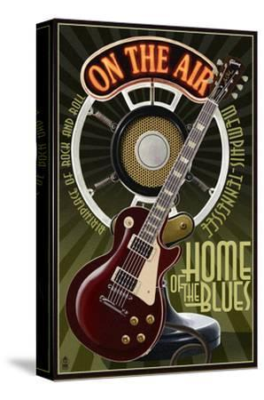 Memphis, Tennessee - Guitar and Microphone-Lantern Press-Stretched Canvas Print