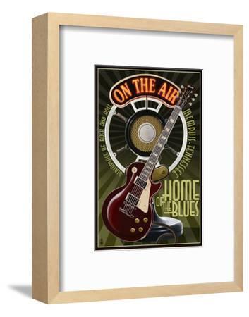 Memphis, Tennessee - Guitar and Microphone-Lantern Press-Framed Art Print