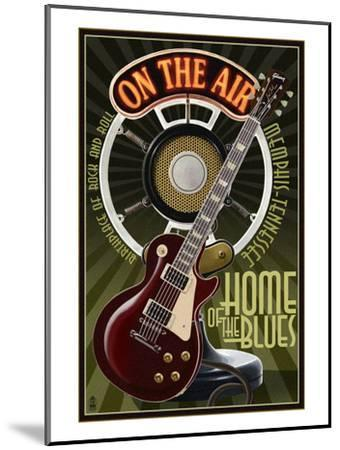 Memphis, Tennessee - Guitar and Microphone-Lantern Press-Mounted Art Print