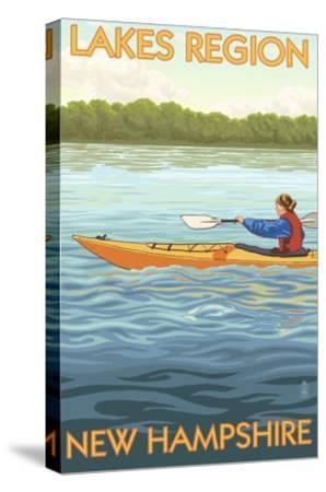 Lakes Region, New Hampshire - Kayak Scene-Lantern Press-Stretched Canvas Print