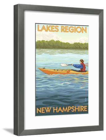 Lakes Region, New Hampshire - Kayak Scene-Lantern Press-Framed Art Print