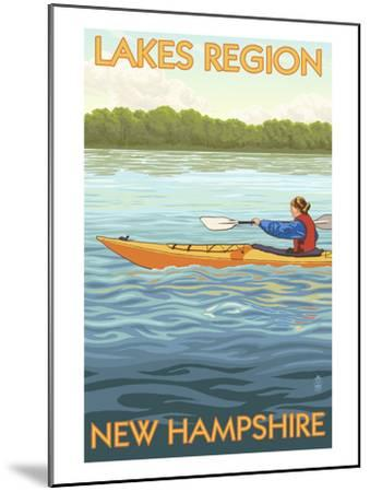 Lakes Region, New Hampshire - Kayak Scene-Lantern Press-Mounted Art Print