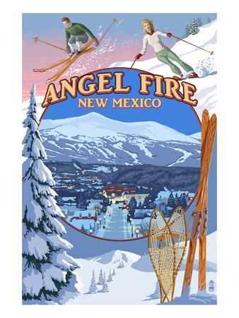 Angel Fire, New Mexico - Winter Scenes Montage-Lantern Press-Framed Art Print