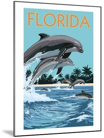 Florida - Dolphins Jumping-Lantern Press-Mounted Art Print