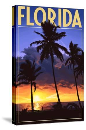 Florida - Palms and Sunset-Lantern Press-Stretched Canvas Print