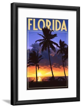 Florida - Palms and Sunset-Lantern Press-Framed Art Print
