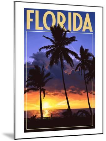 Florida - Palms and Sunset-Lantern Press-Mounted Art Print