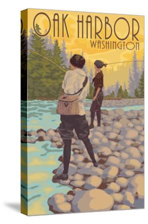 Women Fly Fishing - Oak Harbor, Washington-Lantern Press-Stretched Canvas Print