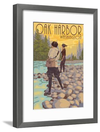 Women Fly Fishing - Oak Harbor, Washington-Lantern Press-Framed Art Print