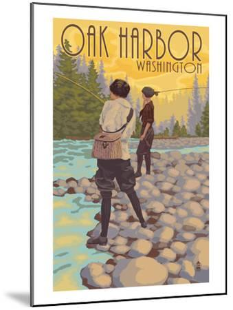 Women Fly Fishing - Oak Harbor, Washington-Lantern Press-Mounted Art Print