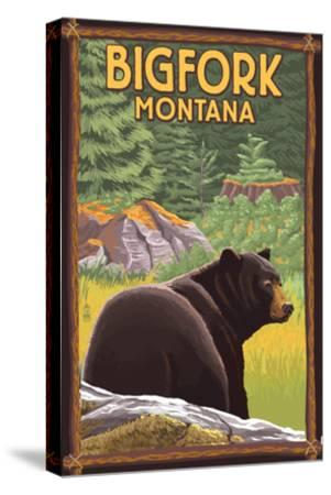 Bigfork, Montana - Bear in Forest-Lantern Press-Stretched Canvas Print