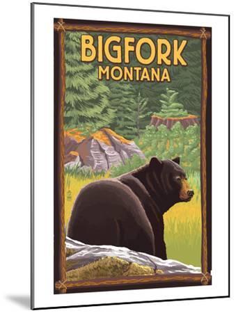 Bigfork, Montana - Bear in Forest-Lantern Press-Mounted Art Print