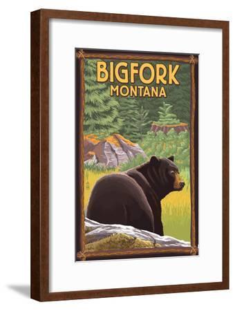 Bigfork, Montana - Bear in Forest-Lantern Press-Framed Art Print