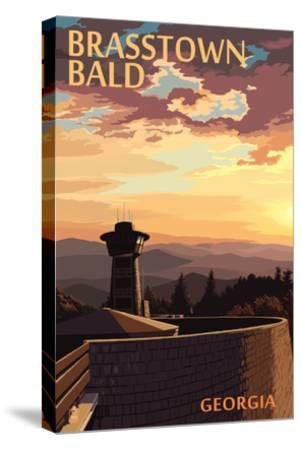 Brasstown Bald, Georgia - Sunset Scene-Lantern Press-Stretched Canvas Print