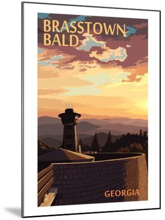 Brasstown Bald, Georgia - Sunset Scene-Lantern Press-Mounted Art Print