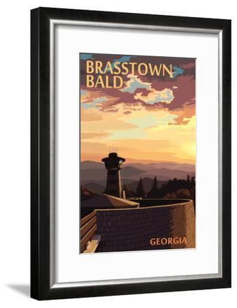 Brasstown Bald, Georgia - Sunset Scene-Lantern Press-Framed Art Print
