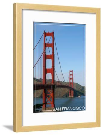 San Francisco, California - Golden Gate Bridge Day-Lantern Press-Framed Art Print