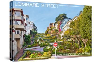 San Francisco, California - Lombard Street-Lantern Press-Stretched Canvas Print