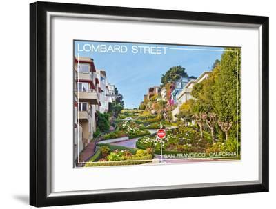 San Francisco, California - Lombard Street-Lantern Press-Framed Art Print