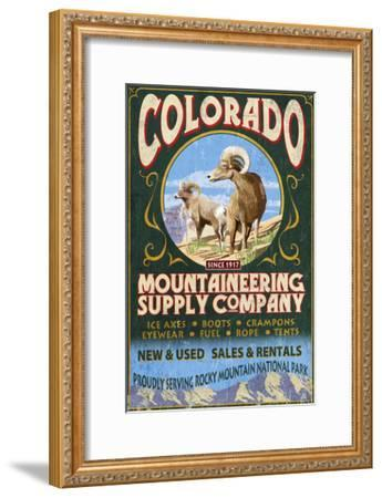 Mountaineering Supply - Rocky Mountain National Park-Lantern Press-Framed Art Print