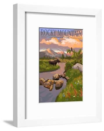 Moose and Meadow - Rocky Mountain National Park-Lantern Press-Framed Premium Giclee Print
