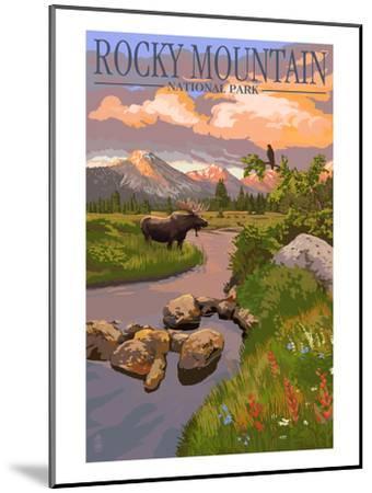 Moose and Meadow - Rocky Mountain National Park-Lantern Press-Mounted Premium Giclee Print