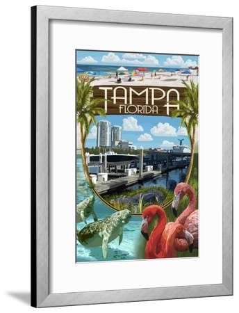 Tampa, Florida - Montage-Lantern Press-Framed Art Print