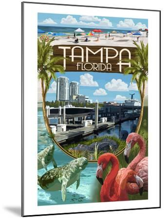 Tampa, Florida - Montage-Lantern Press-Mounted Art Print