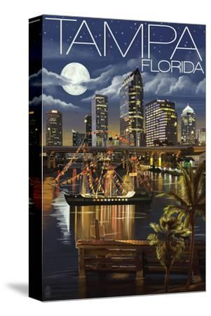 Tampa, Florida - Skyline at Night-Lantern Press-Stretched Canvas Print