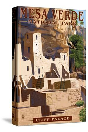 Mesa Verde National Park, Colorado - Cliff Palace-Lantern Press-Stretched Canvas Print