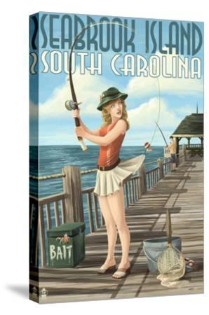 Seabrook Island, South Carolina - Pinup Girl Fishing-Lantern Press-Stretched Canvas Print