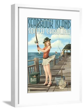Seabrook Island, South Carolina - Pinup Girl Fishing-Lantern Press-Framed Art Print
