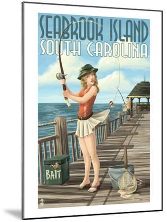 Seabrook Island, South Carolina - Pinup Girl Fishing-Lantern Press-Mounted Art Print