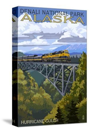 Denali National Park, Alaska - Hurricane Gulch-Lantern Press-Stretched Canvas Print