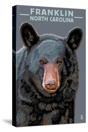 Black Bear Up Close - Franklin, North Carolina-Lantern Press-Stretched Canvas Print