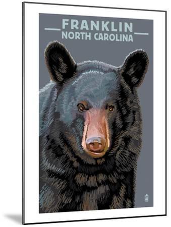 Black Bear Up Close - Franklin, North Carolina-Lantern Press-Mounted Art Print