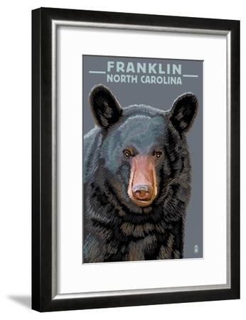 Black Bear Up Close - Franklin, North Carolina-Lantern Press-Framed Art Print
