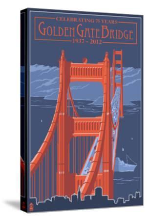Golden Gate Bridge and Skyline - 75th Anniversary - San Francisco, CA-Lantern Press-Stretched Canvas Print