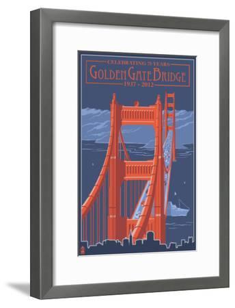 Golden Gate Bridge and Skyline - 75th Anniversary - San Francisco, CA-Lantern Press-Framed Art Print