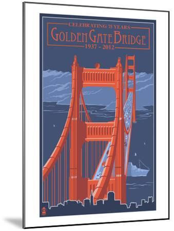 Golden Gate Bridge and Skyline - 75th Anniversary - San Francisco, CA-Lantern Press-Mounted Art Print