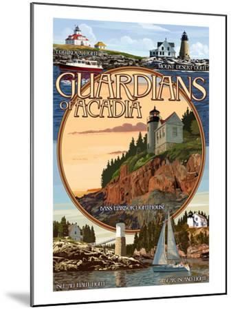 Acadia National Park, Maine - Guardians of Acadia Lighthouses-Lantern Press-Mounted Art Print