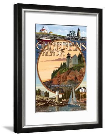 Acadia National Park, Maine - Guardians of Acadia Lighthouses-Lantern Press-Framed Art Print