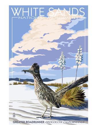 White Sands National Monument, New Mexico - Roadrunner-Lantern Press-Framed Art Print