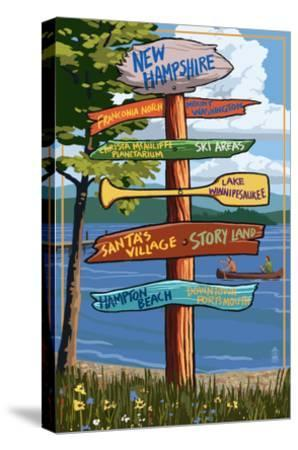 New Hampshire - Sign Destinations-Lantern Press-Stretched Canvas Print