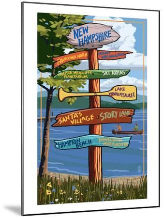 New Hampshire - Sign Destinations-Lantern Press-Mounted Art Print