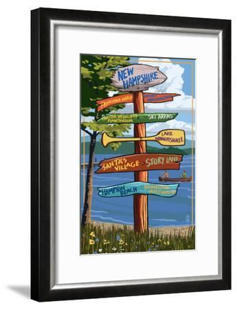 New Hampshire - Sign Destinations-Lantern Press-Framed Art Print